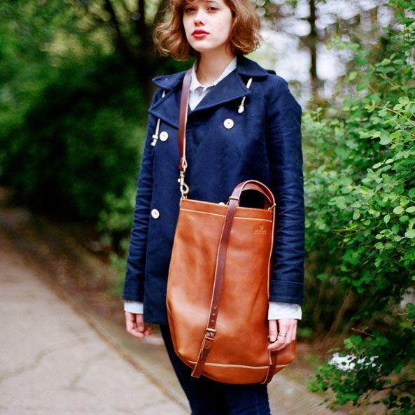 French handmade leather bleu de chauffe tote bag