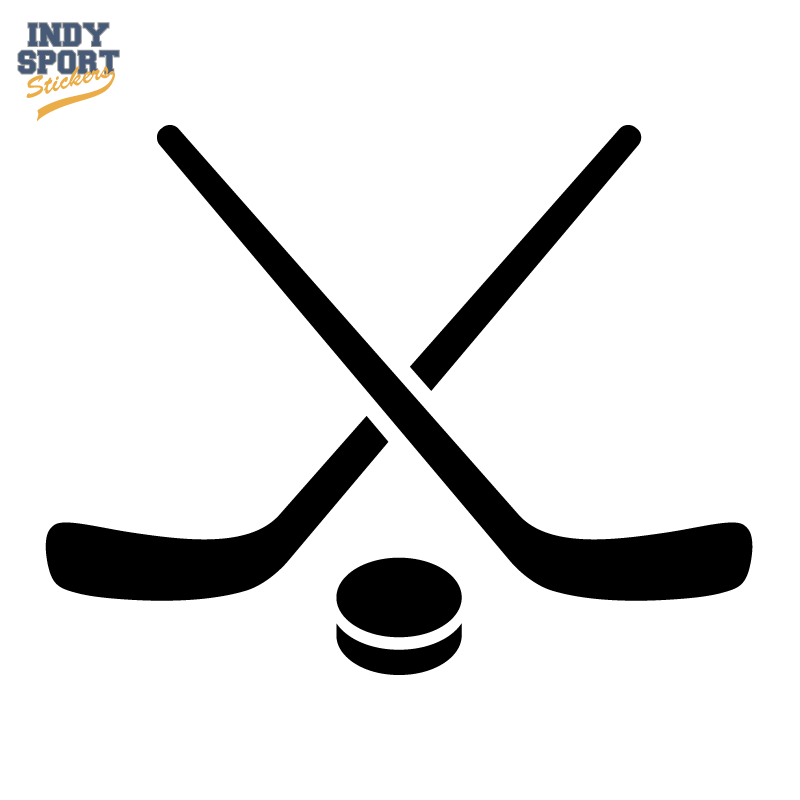 800x800 Hockey Puck And Stick Crossed Silhouette Hockey Stick Hockey Hockey Decals