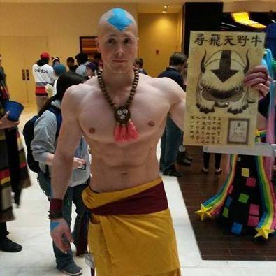 super hot shirtless cosplay man airbender comic con