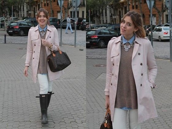 Queen's Wardrobe Trench, Louis Vuitton Bag, Hunter Boots, Happiness Boutique Necklace