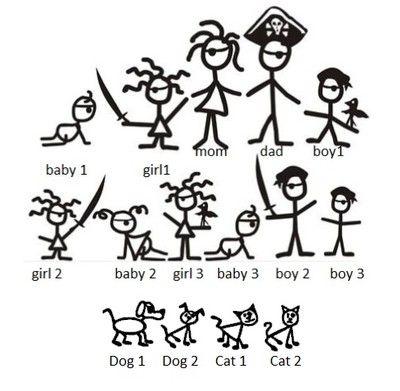 Pirate Stick Family Vinyl Decal Sticker Pirates Stick Family - Family car sticker decalsfamily car decals ebay