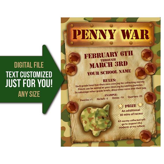 Penny War Penny Wars Fundraiser Flyer Invite By Bowwowcreative Fundraiser Flyer Easy Fundraisers School Fundraisers