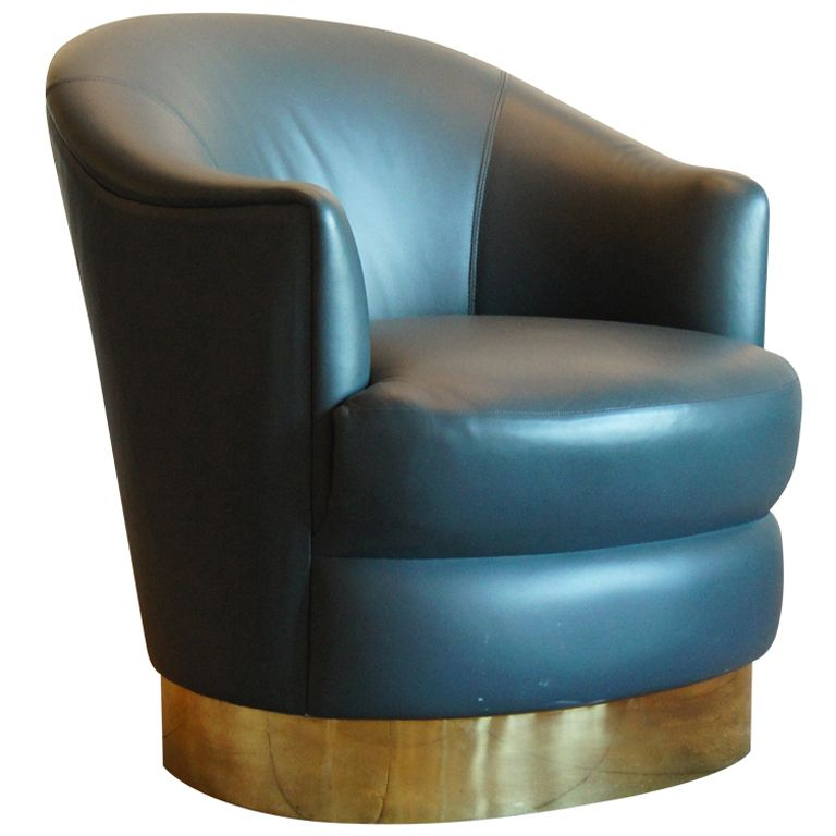 Sea Green Leather And Brass Tub Chair By Karl Springer