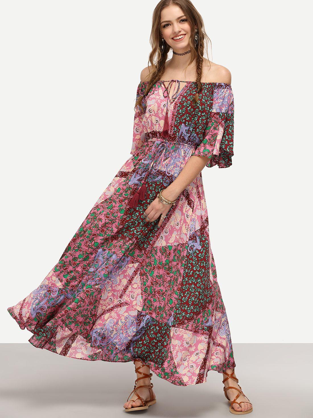 Vestido bohémico estampado hombros al aire - multicolor-Spanish SheIn(Sheinside)