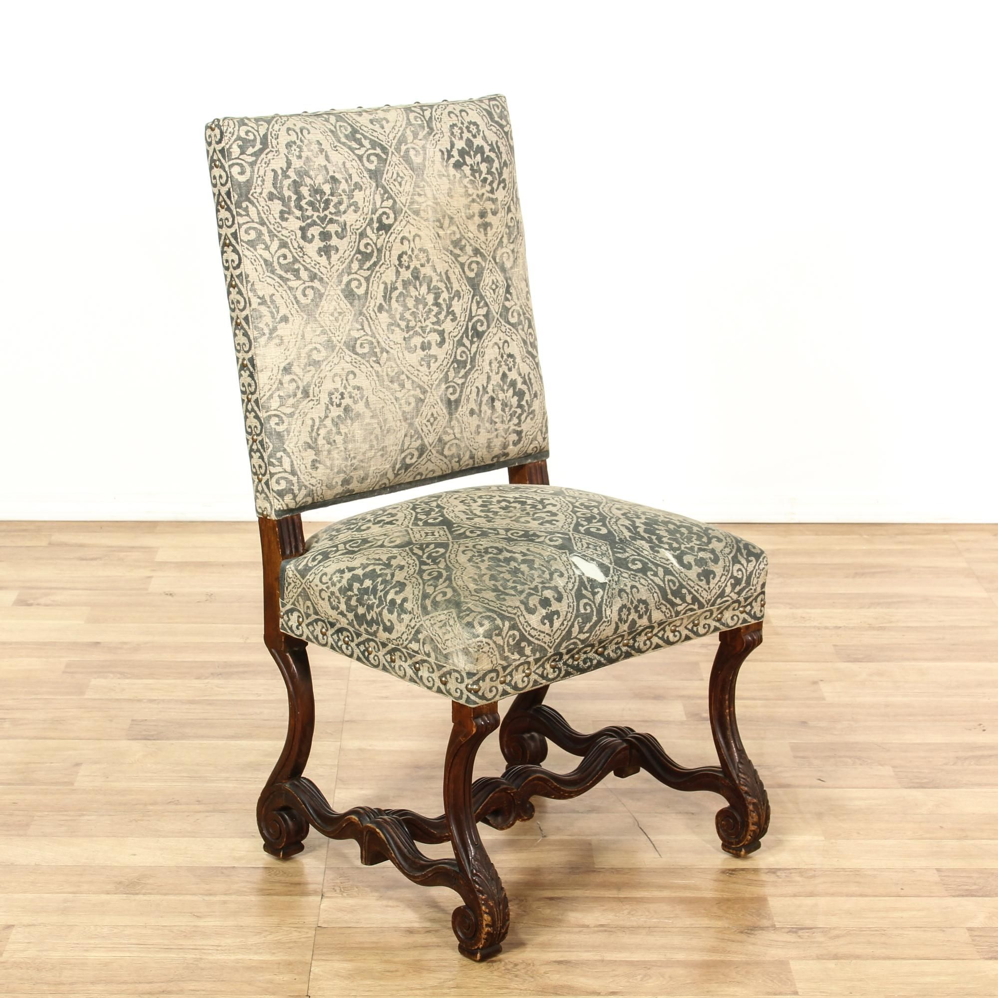 Carved wood burlap upholstered accent chair