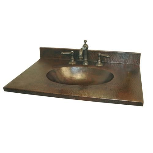 Sedona Hand Hammered Copper Vanity Top With Integral Sink By Native Trails