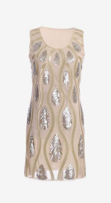 Tear Drops and Waves Pattern Sequin Embellishments Dress