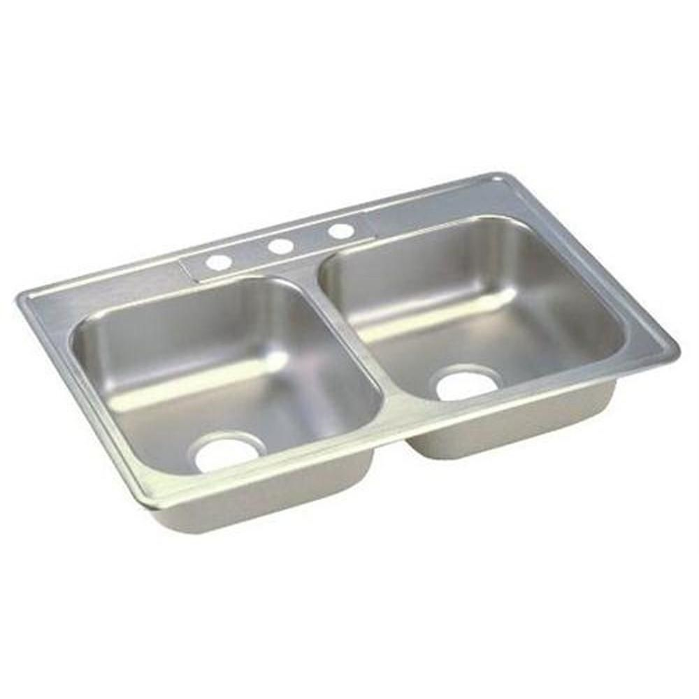 Dayton Drop-In Stainless Steel (Silver) 25 in. 3-Hole Double Bowl ...