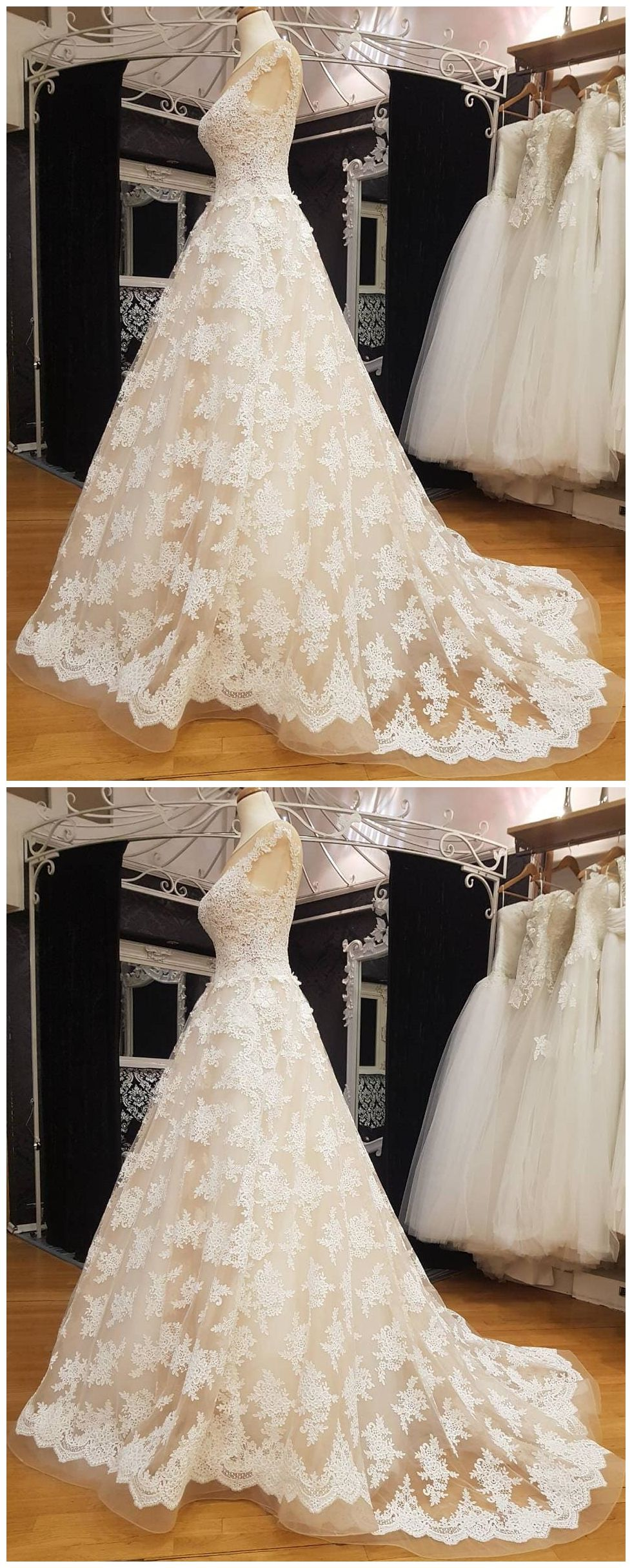 Lace ball gown wedding dresses vintage cheap bridal dresses awd