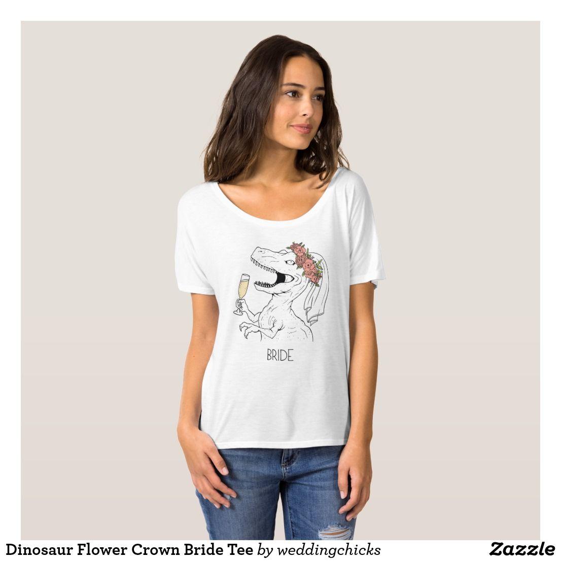 23d20e14 Dinosaur Flower Crown Bride Tee in 2018 | T-Shirts (For Women ...