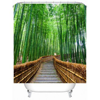 Bamboo Landscape Shower Curtain With Hooks Green Shower Curtains