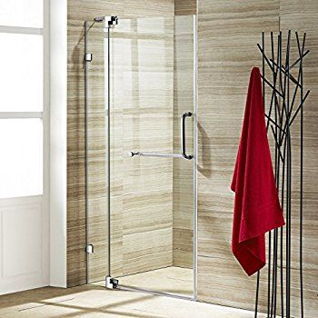 Vigo Pirouette 36 To 42 In Frameless Shower Door With 375 In Clear Glass And Chrome Hardware Shower Doors Clear Glass Shower Door Frameless Shower Doors