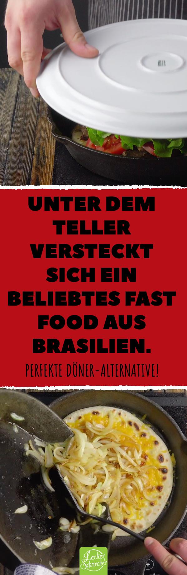 Unter dem Teller versteckt sich ein beliebtes Fast Food aus Brasilien. Perfekte Döner-Alternative! #rezept #lecker #beirut #sandwich #fladenbrot #fastfood #apfelrosenblätterteig