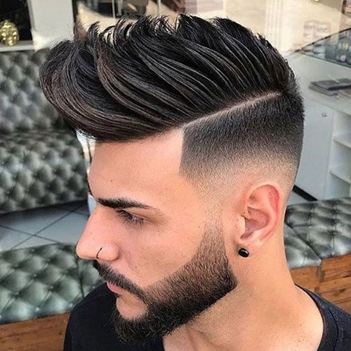 High Quality Faux Hawk Fade + Part + Groomed Beard