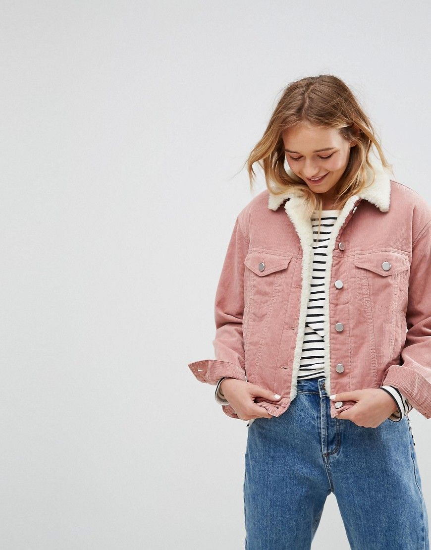 545b53f8d8f4 ASOS Cord Jacket With Fleece Collar in Washed Pink - Pink | Fashion ...