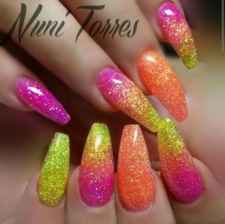 Neon Glitter Nails Via Instagram Nunis Nails Neon Glitter Nails