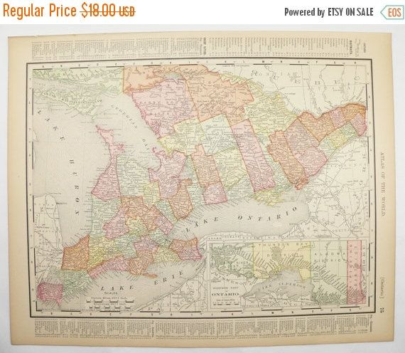 Wedding Party Gifts Canada: Vintage Map Of Ontario Quebec Map 1901 East Canada Map