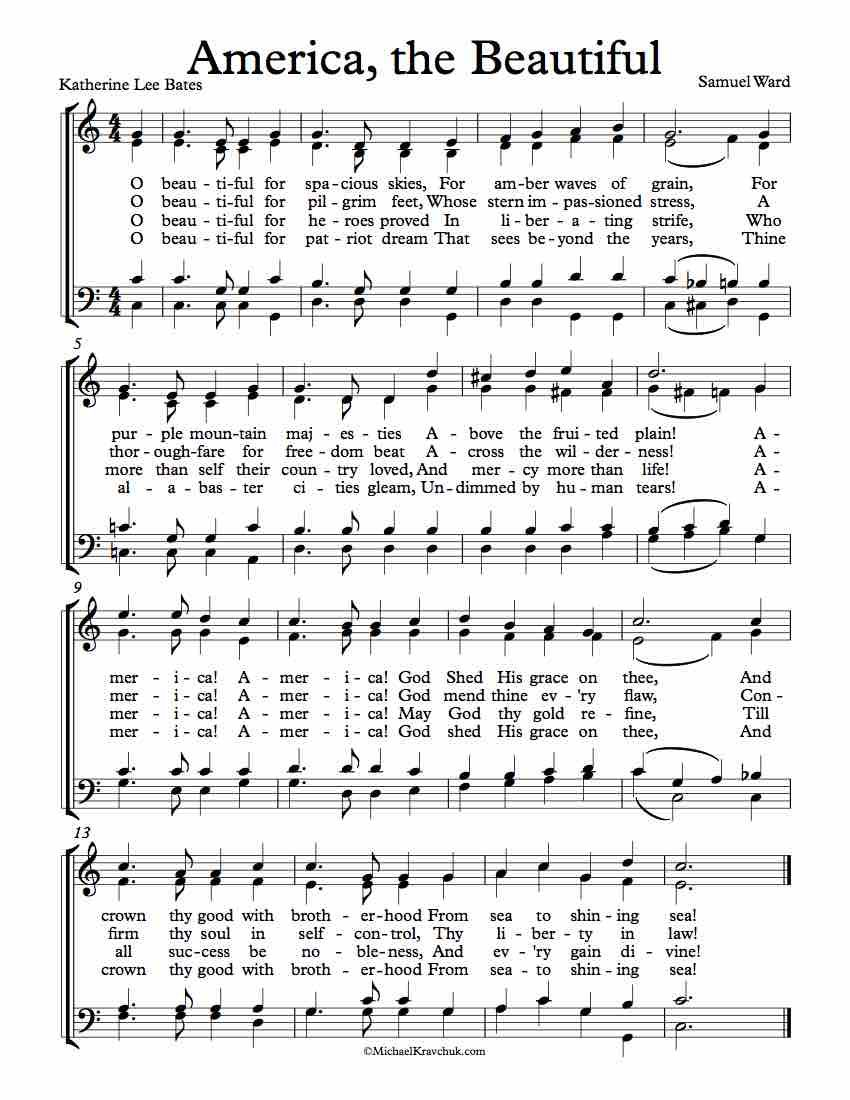 Free Choir Sheet Music For America The Beautiful By Katherine Lee