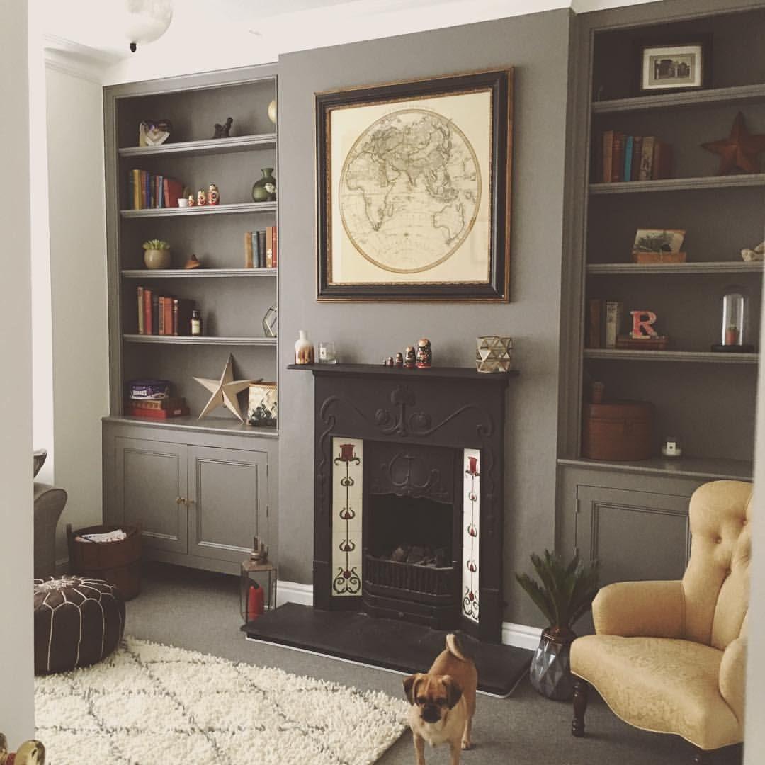 Bookshelves painted in Moles Breath F&B