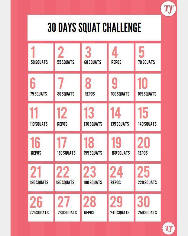 Exceptionnel 30 Days Squat Challenge : le calendrier à imprimer | Sport  FN12