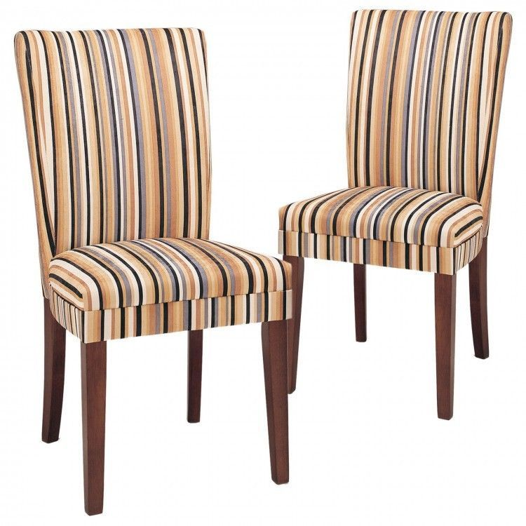 Accent Chair Set 2 Pc Striped Upholstered Dining Seat Wood Modern