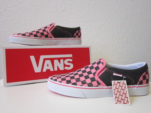 f92668d13b55 Vans asher c pink   black checkered slip-ons new with tags womens size 10 m
