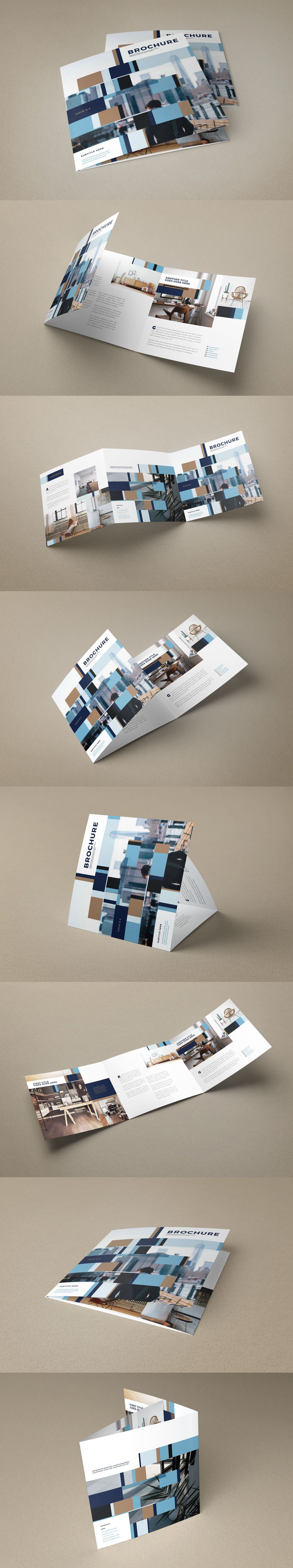 Square Modern Interior Design Trifold Brochure Template InDesign ...