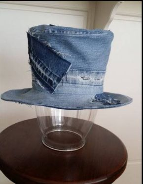 Up-cycled Faded Blue DENIM Top Hat with Denim PATCHES by SundayDoveDesigns  on Etsy cd5637843b6