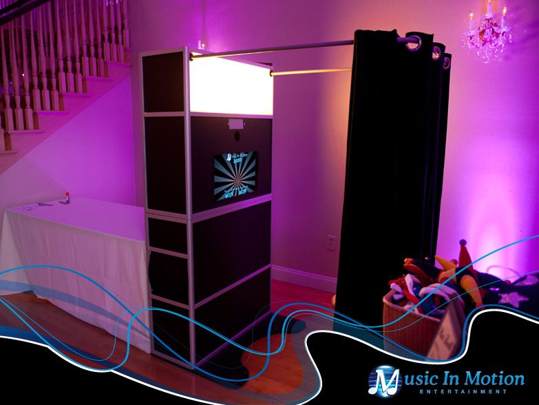 Music In Motion Photo Booths available for rental at your wedding event.