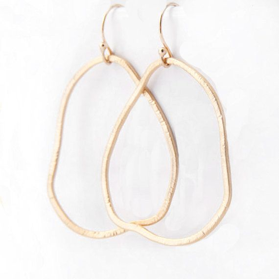 Gold Organic Hoop Earrings Freeform Textured Gold by adorn512