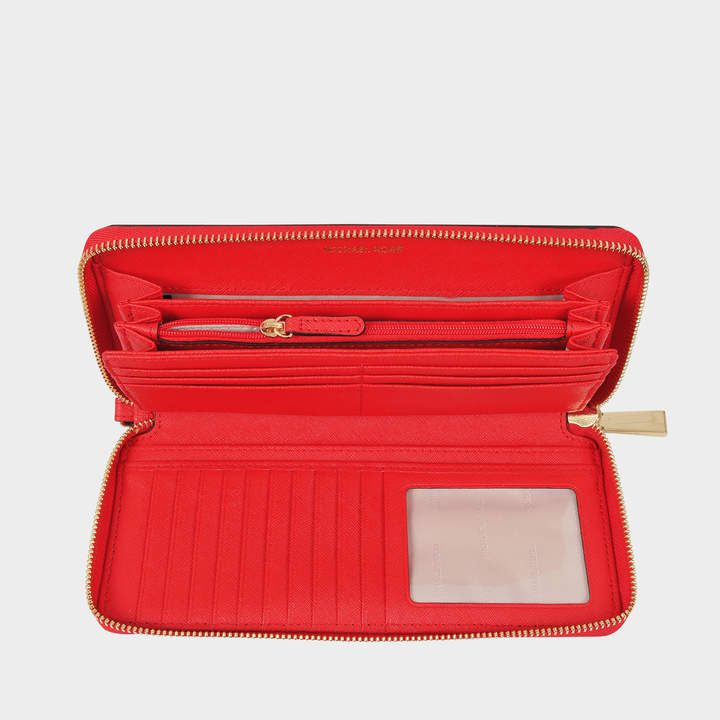 a71bcd03f51666 MICHAEL Michael Kors Jet Set Travel Continental Wallet in Bright Red  Saffiano Leather
