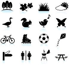 Park, Recreation and Wildlife black & white vector icon set vector art illustration