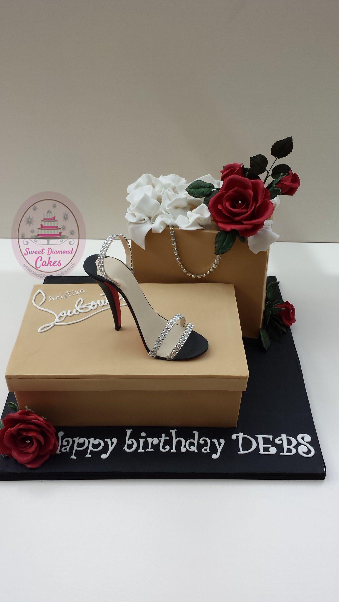 A Louboutin shoe and shopping bag cake www.sweetdiamondcakes.co.uk