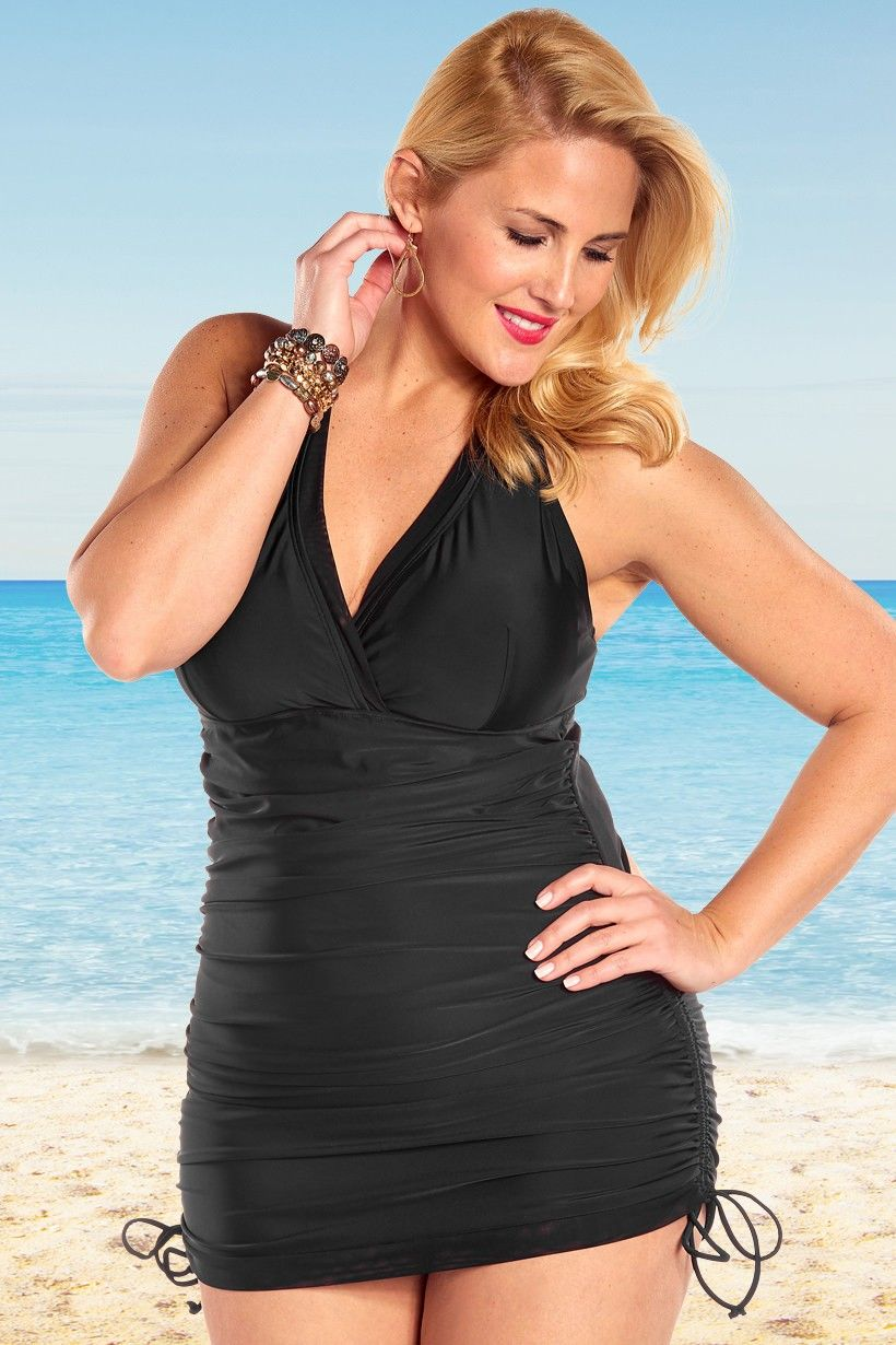 3a46bb4a810 Always For Me Control Retro Halter Plus Size Swimdress Black - Only ...