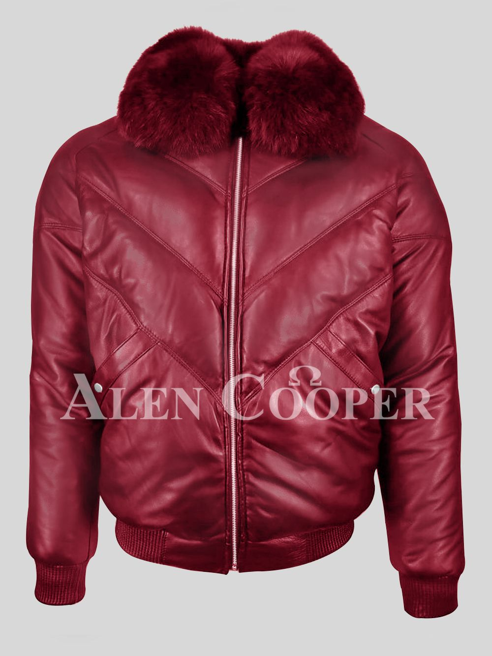 Super Stylish Real Leather Wine V Bomber Jacket For Men With Wine Fur In 2020 Fur Leather Jacket Bomber Jacket Men Leather Bomber Jacket