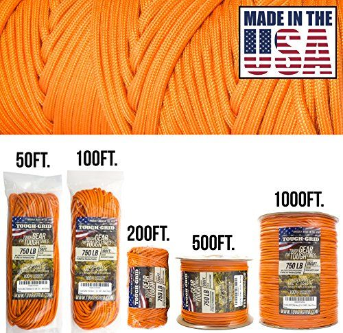 """Diameter 100/% Nylon Rope Cordage Type III 7 Strand 5//32/"""" 4mm Authentic MIL-C-5040-H PARACORD PLANET Military Survival Parachute Cord MIL-SPEC Paracord 103 Continuous Feet 550+ Tensile Strength"""