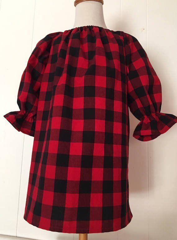 5f5e23588aba Girls Buffalo Plaid Christmas Dress, Red and Black, Holiday, Peasant, Baby  Girl, Toddler, Winter Dre