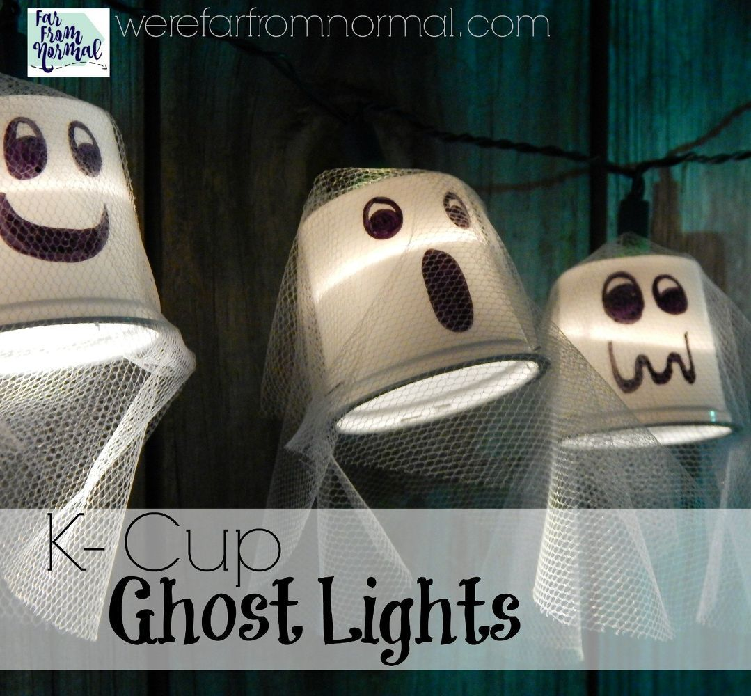 k cup ghost lights, cleaning tips, halloween decorations, home decor - How To Make Halloween Decorations