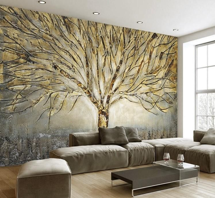 Stylish Abstract Art Wall Decor Gold Tree Pattern Wallpaper For Home And Business We Have An Extensive Tree Wallpaper Mural Mural Wallpaper Tree Wall Murals