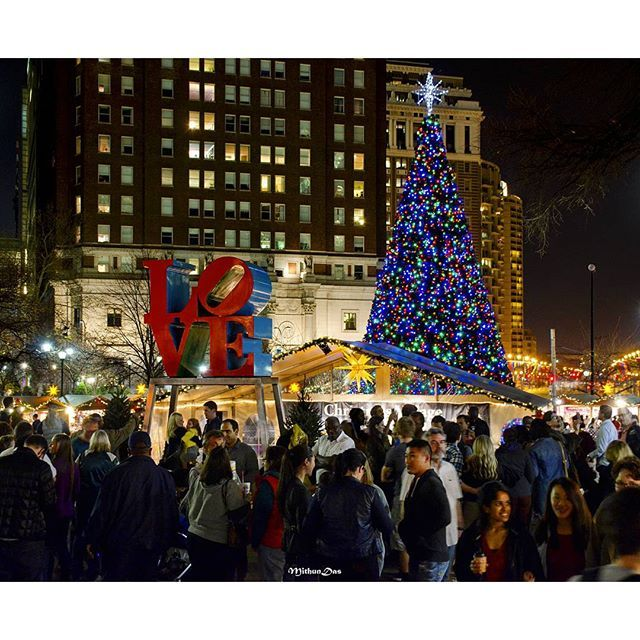 the iconic love park known as christmas village during the holidays is one of the prime