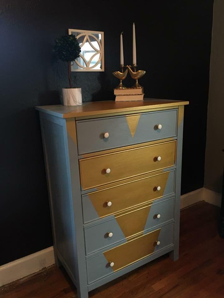 DIY geometric vintage dresser