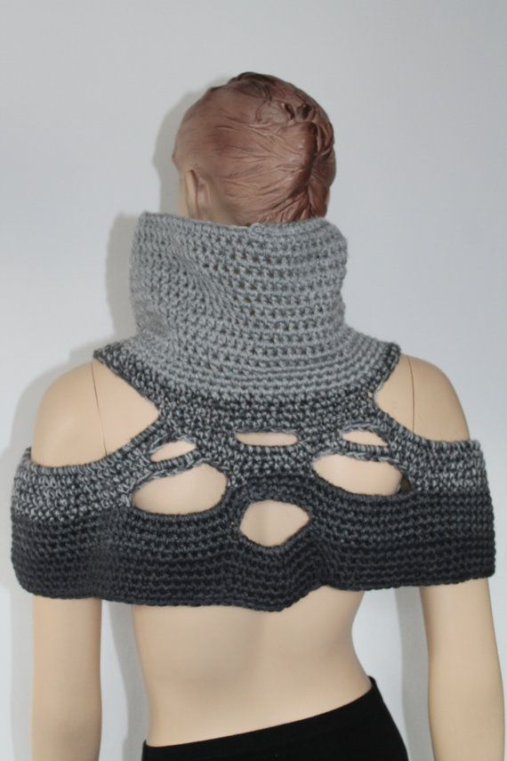 5 in 1 Universal Two-sided Grey Crochet Poncho by levintovich