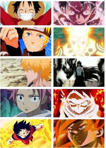 Calm to badass. Luffy, Naruto, Ichigo, Natsu, Goku