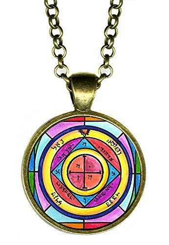 """Solomons 5th Pentacle of the Saturn for Protection of Home From Theft 1"""" Antique Bronze Gold Pendant"""