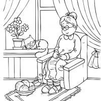 REPIN and LIKE Printable Grandma Knitting Coloring Sheet