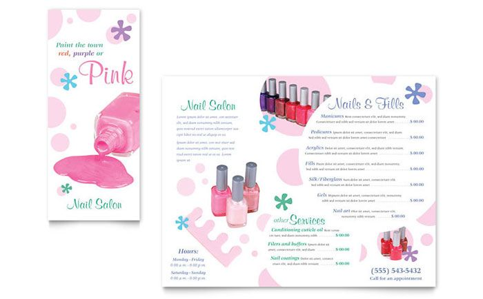 Nail Salon Brochure Design Template By Stocklayouts  Projects To