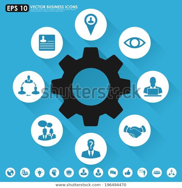 Blue Business Icon Set เวกเตอร สต อก ปลอดค าล ขส ทธ 196494470 ภาพประกอบ