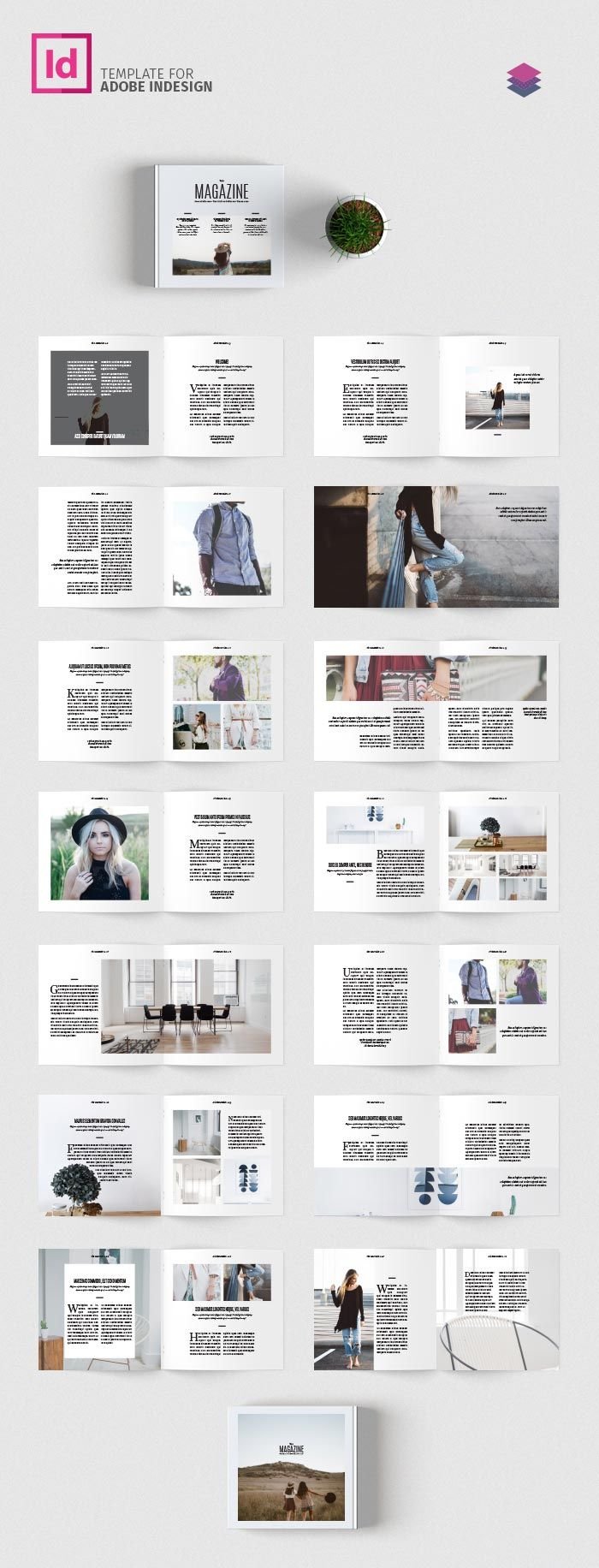 Minimal Square Magazine Template | brochure | Pinterest | Editorial ...