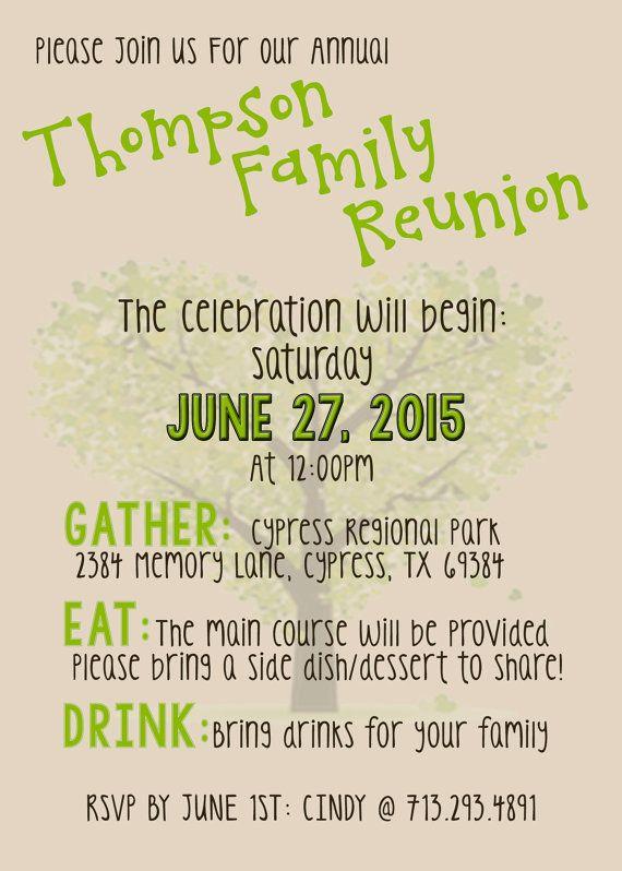 Family Reunion Invite PRINTABLE DIGITAL INVITATION family reunion
