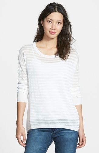 Petite Women's Halogen Sheer Stripe High/Low Pullover, Size X-Small P - Ivory from Nordstrom on Catalog Spree